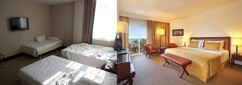 two examples, one of a clear hotel image and one of a poor, cluttered hotel image