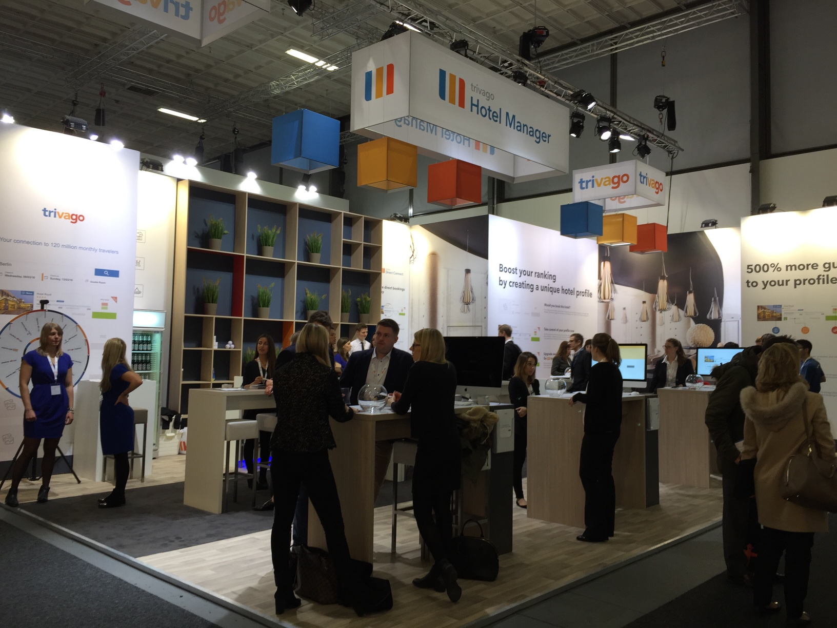 trivago's stand at ITB Berlin 2016 with people crowding in front