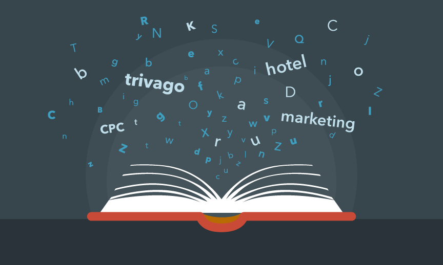 les mots du marketing hotelier trivago sortant d'un livre