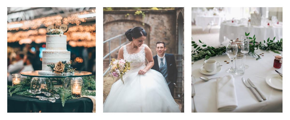 three images of a hotel wedding venue