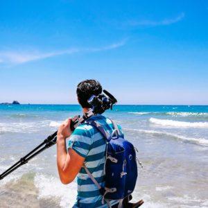 Fotógrafo profesional junto al mar