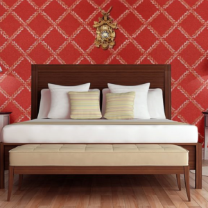 hotel room with red wallpaper