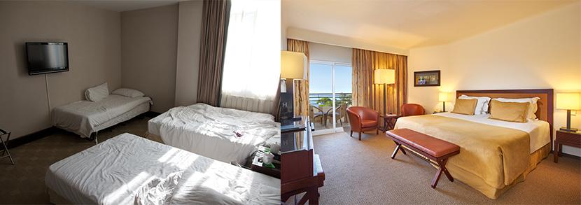 2 exemples, une photo claire d'un hôtel et une photo d'un hôtel en fouillis