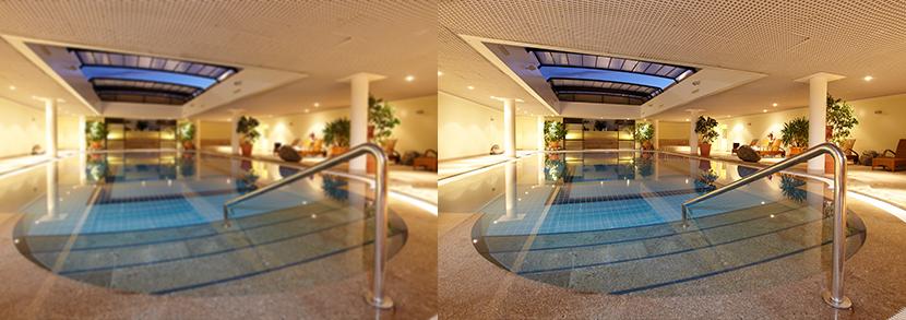un exemple d'une piscine avec une bonne résolution et une mauvaise résolution