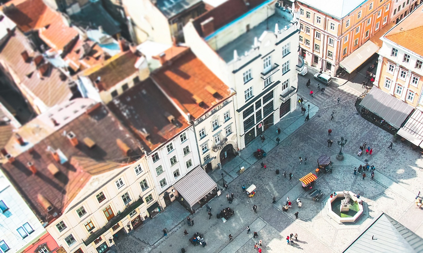 An areal view of a charming European city location