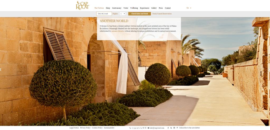 Homepage del sito web dell'hotel Cap Rocat