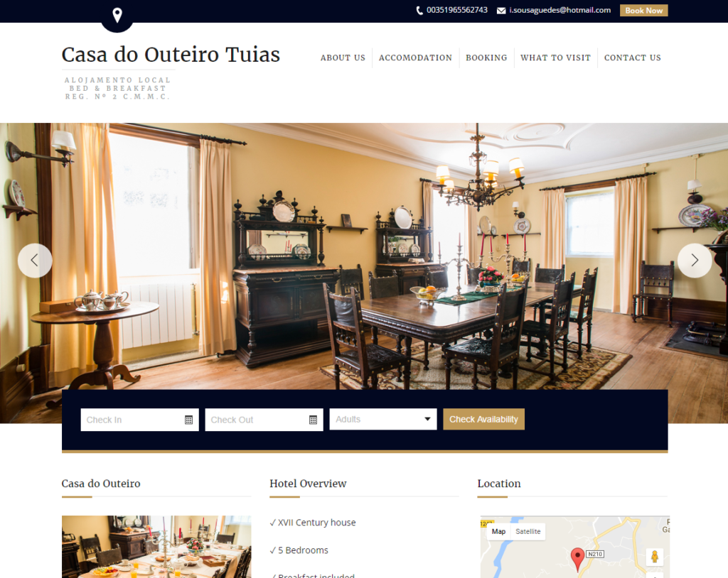 Homepage del sito web dell'hotel Casa do Outeiro Tuias