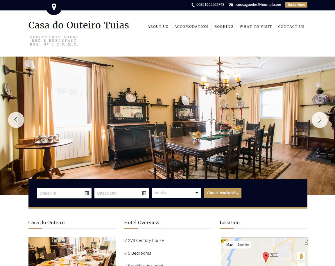 Page d'accueil du site Web de l'hôtel Casa do Outeiro Tuias