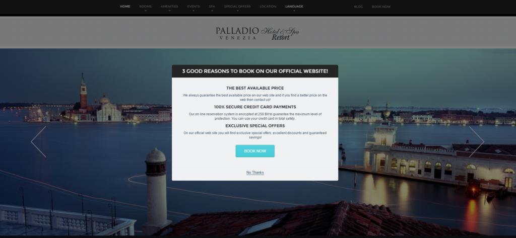 Homepage del sito web dell'hotel Palladio