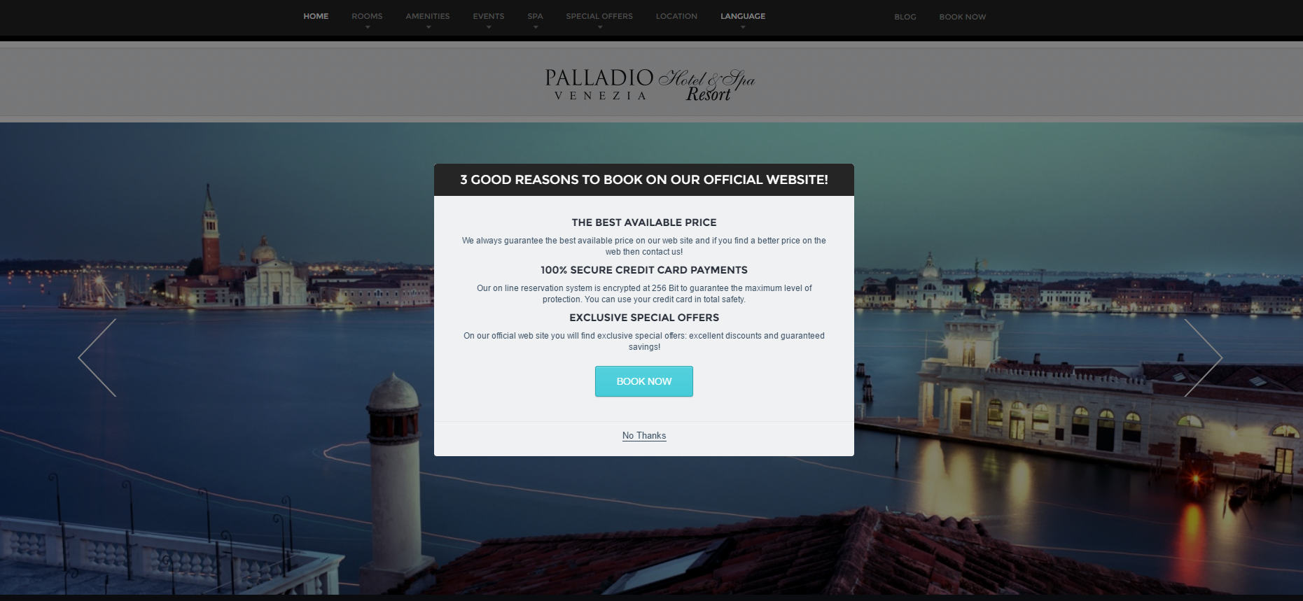 The Palladio hotel website homepage