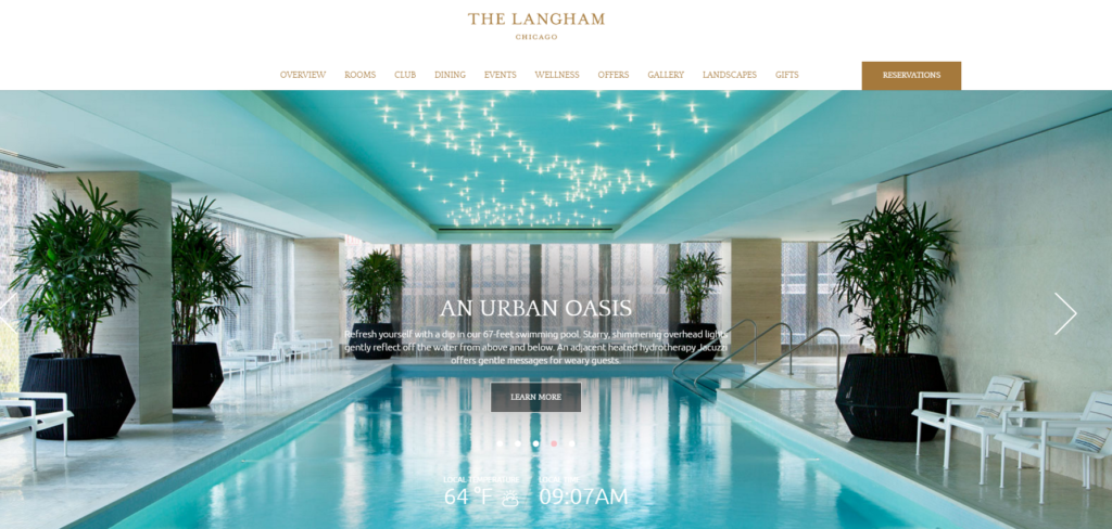 Homepage del sito web dell'hotel The Langham