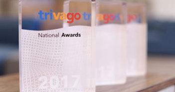 3 trivago Awards on a desk
