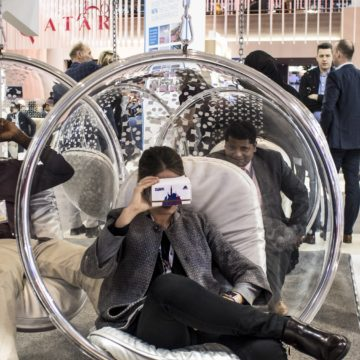 people try VR at the Dubai stand a part of the world travel market