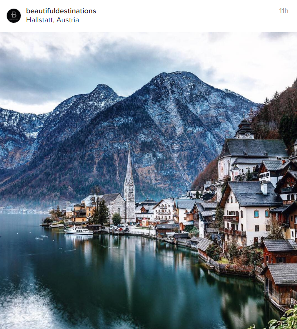 Una bellissima vista di Hallstatt, in Austria