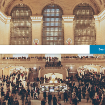 Image of Grand Central Station bustling with travelers overlaid by the search bar of a hotel metasearch