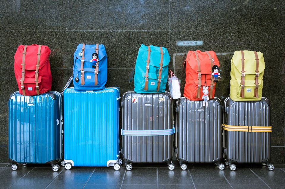 5 suitcases lined up in a row