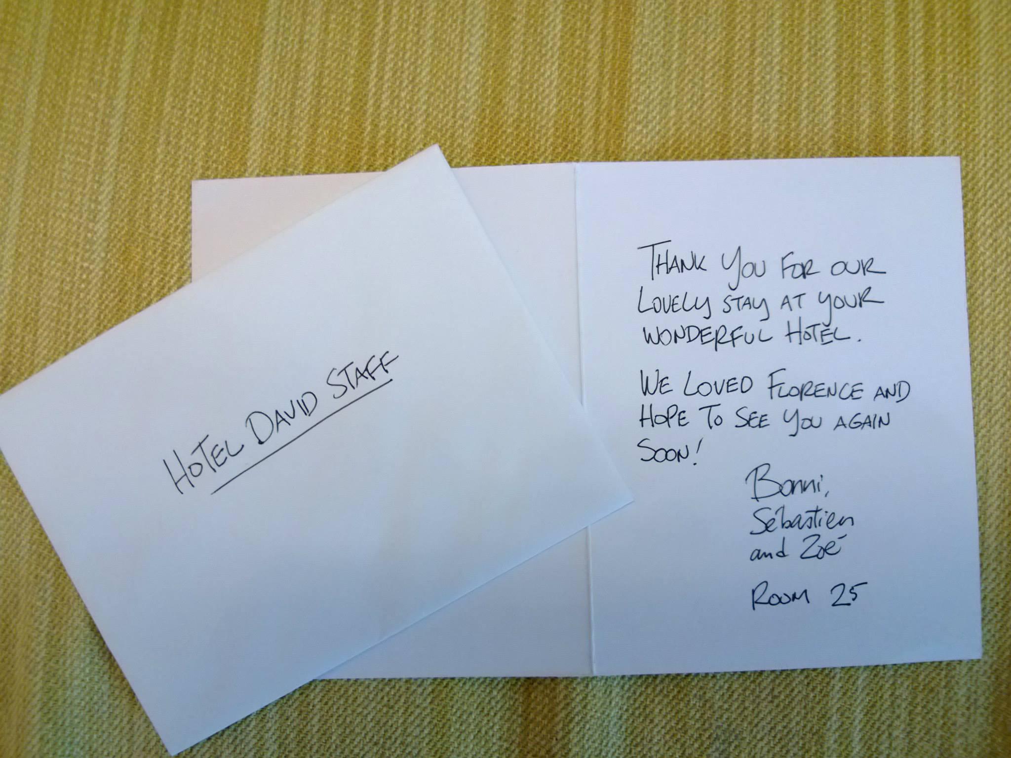 Biglietto di ringraziamento per lo staff del David di Firenze