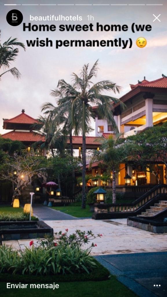 """publicação de um belíssimo hotel nas histórias do Instagram com o texto sobre a imagem que diz """"lar doce lar (quem dera fosse para sempre)"""""""