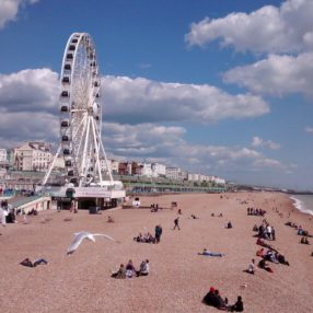 Brighton beach and ferris wheel in summer