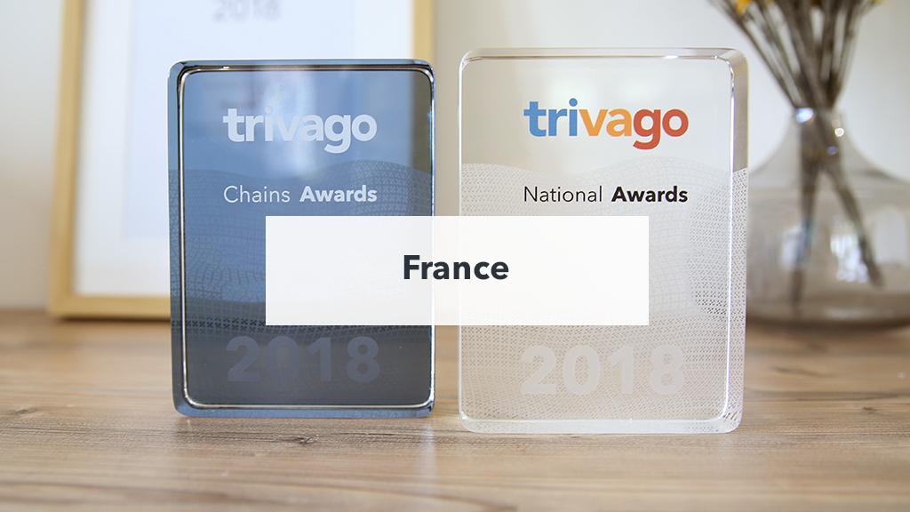Trophée trivago Awards 2018 exposé sur une table