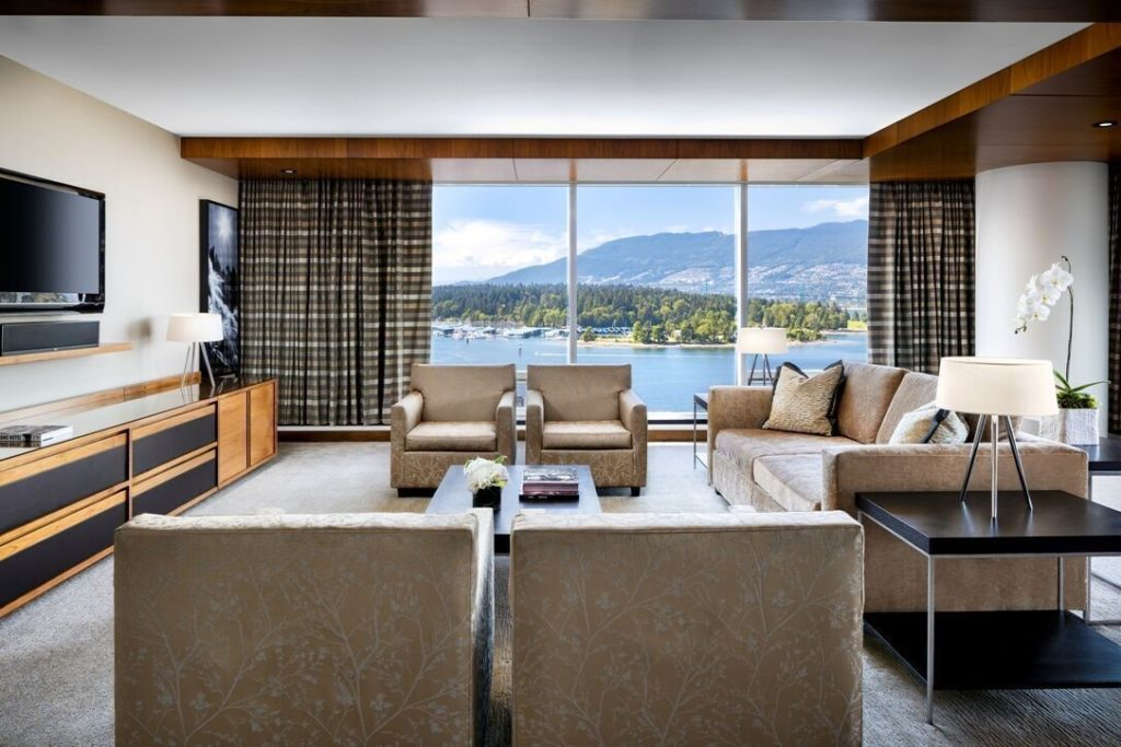A suite at Fairmont Pacific Rim showcasing its view across Vancouver Harbour