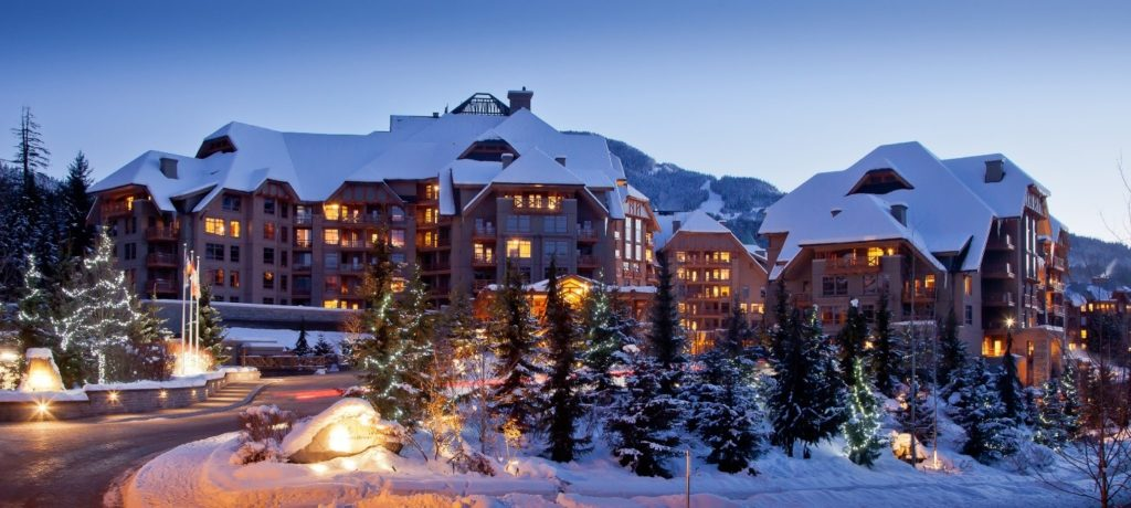 The Four Seasons Resort And Residences Whistler blanketed in snow
