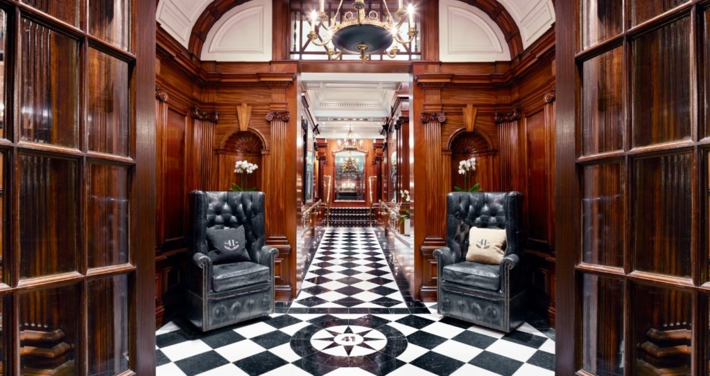 The grand entrance and lobby at Hotel 41 in London