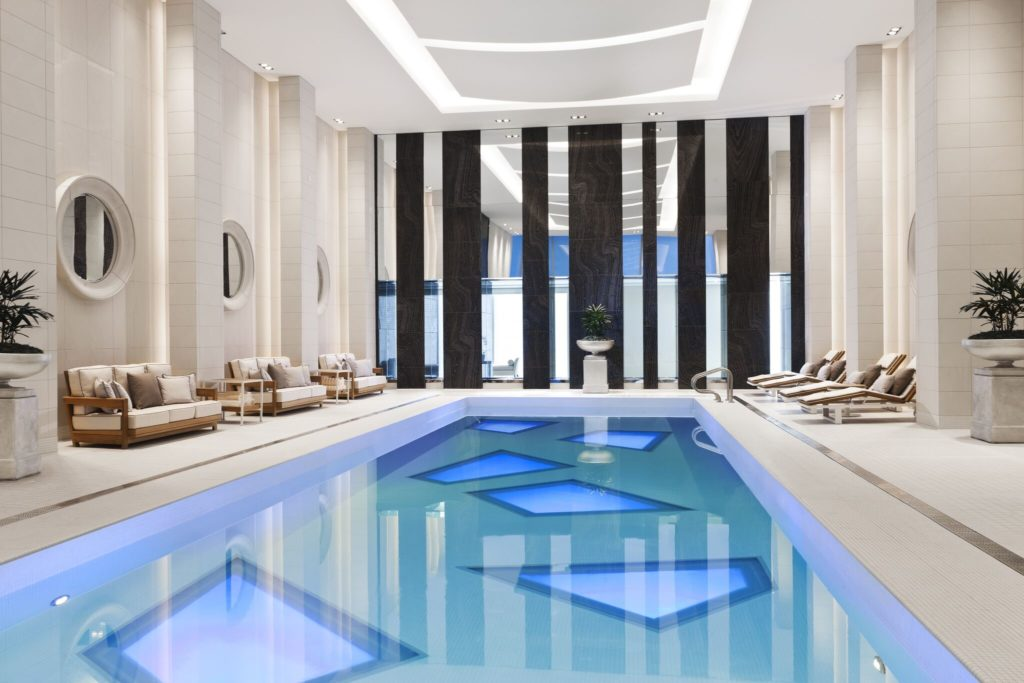 The luxurious pool at Rosewood Hotel Georgia in Vancouver