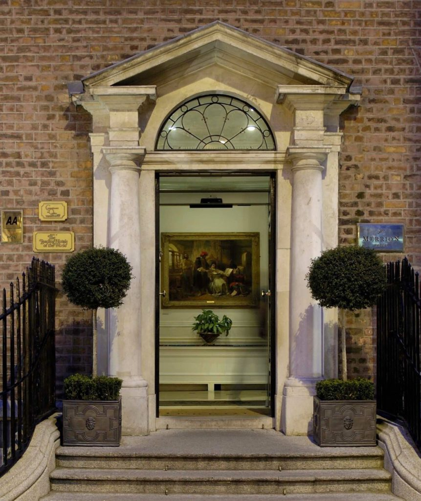 Image of the grand entrance to The Merrion in Dublin