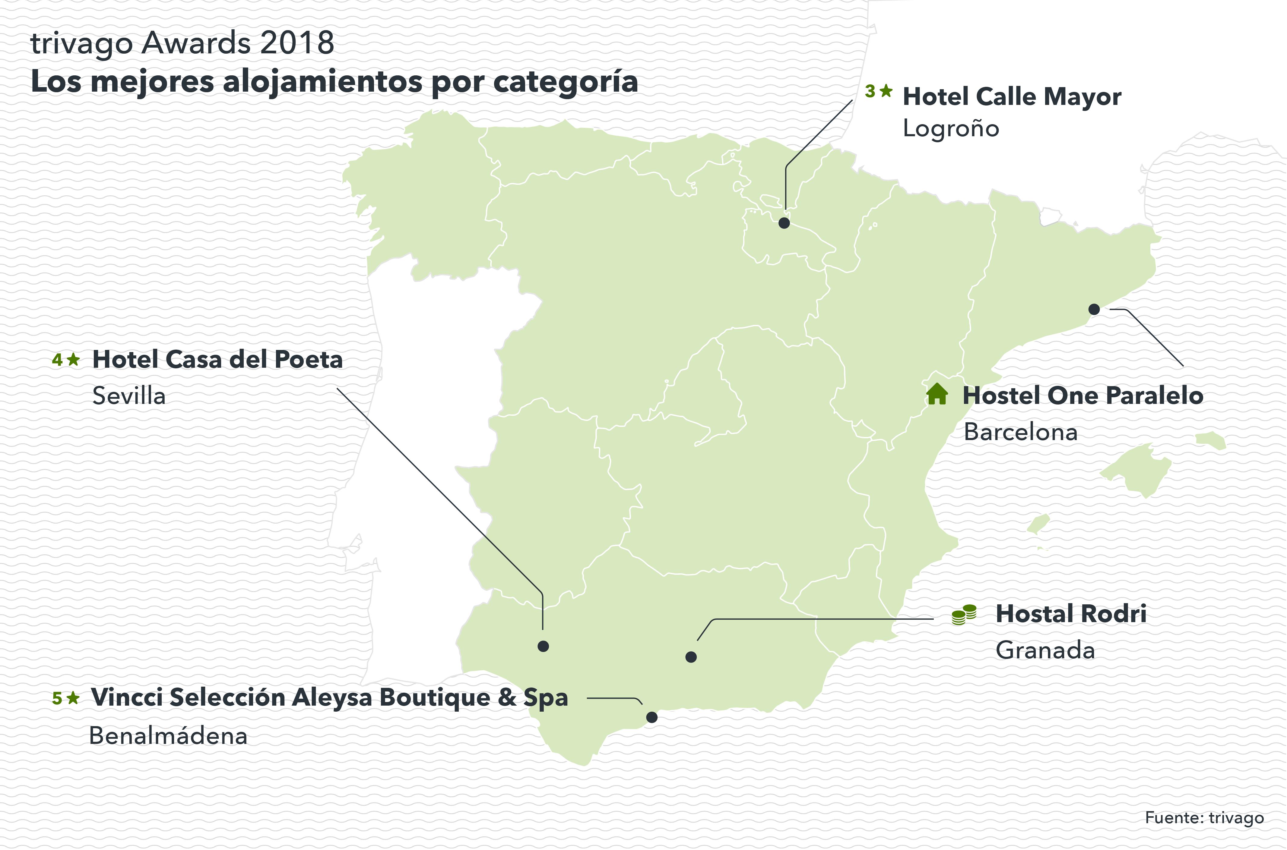 Mapa de España con los hoteles ganadores de los trivago Awards 2018