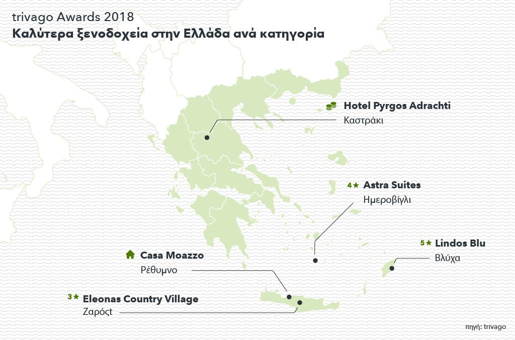 Χάρτης που δείχνει τα ξενοδοχεία των trivago Awards 2018 στην Ελλάδα