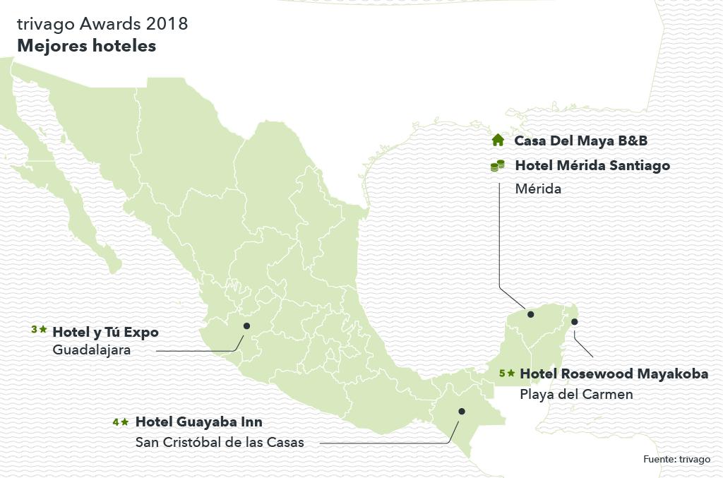 Mapa con los mejores hoteles 2018 México