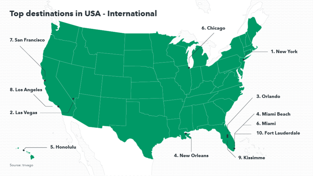 Map showing popular destinations in the US for international travelers