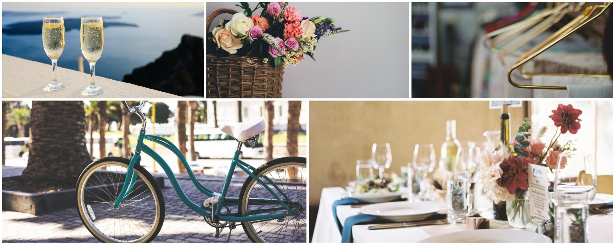 Fotocollage: Sekt, Geschenkkorb, Wäscheservice, Fahrrad, Abendessen