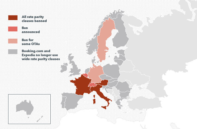 Map of countries based on their rate parity status