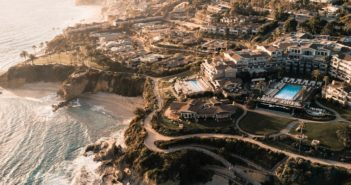 photo of a hotel in laguna beach by drone photography, a top hotel technology trend