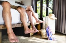 Travelers relaxing in a hotel on vacation