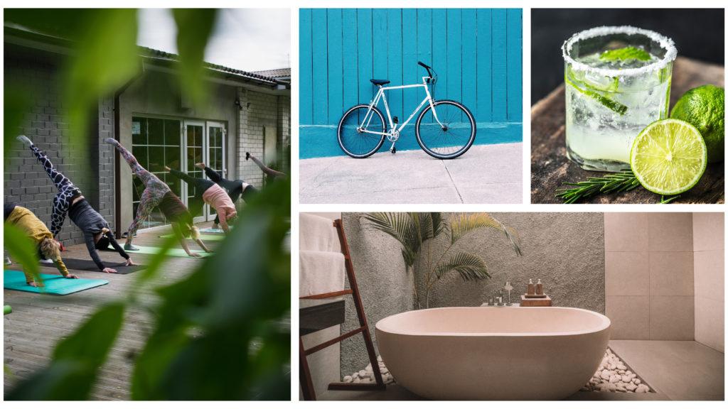 Un collage con fotos de los mejores servicios de hotel según el tipo de viajero