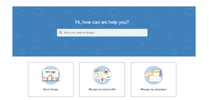 Screenshot of trivago's Support Center for hoteliers