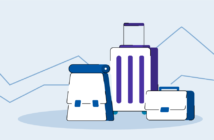 Αποσκευές διαφορετικών τύπων ταξιδιωτών με γραφήματα τάσεων