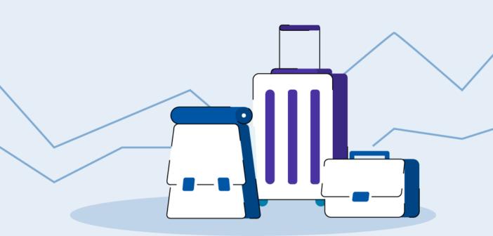 Gepäckstücke von verschiedenen Arten von Reisenden mit Trendgrafiken