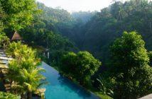 Piscina de hotel sustentável cercada por árvores