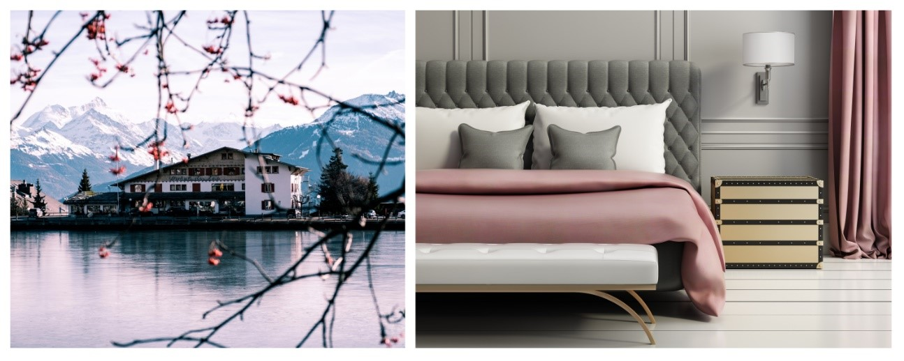 Collage con imágenes de alta calidad de un hotel