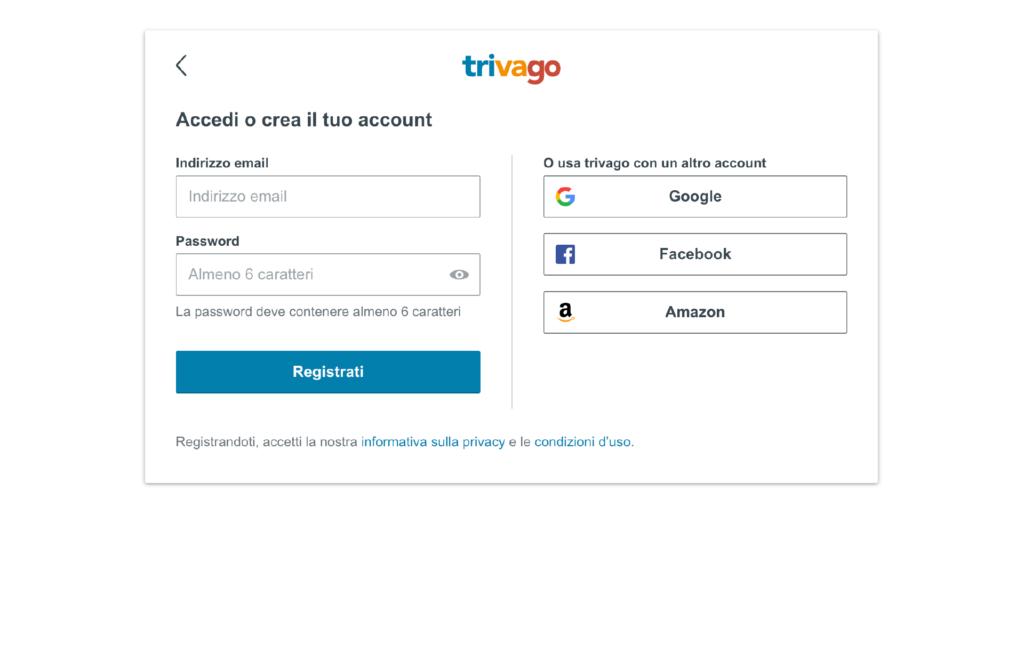 Accesso o creazione di un account trivago