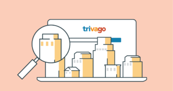 An infographic with hotels on trivago with a magnifying glass