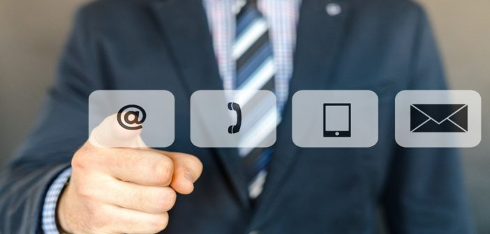 Different contact icons with a pointing finger
