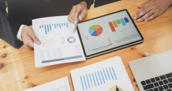 Marketing planning with figures and charts